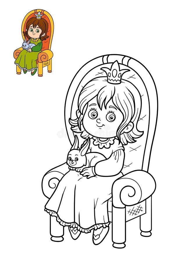 Malbuch, Prinzessin Und Kaninchen Auf Dem Thron Stock Abbildung ...