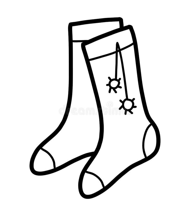 Malbuch, Socken mit pom poms stock abbildung