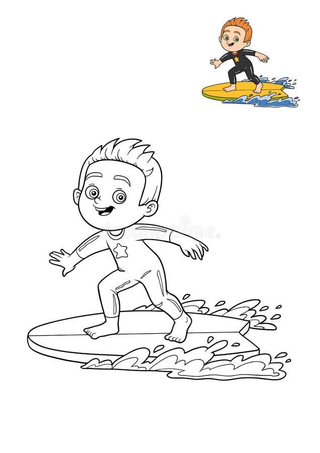 Malbuch, Surferjunge stock abbildung. Illustration von meer - 85472143