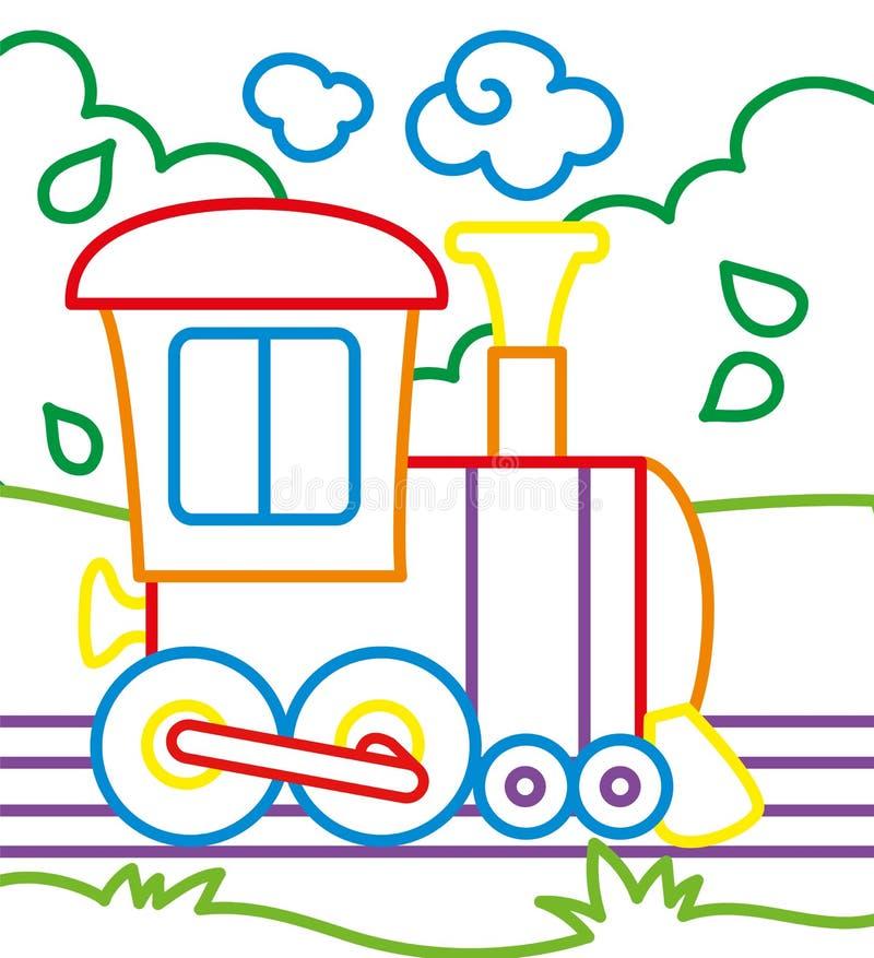 Malbuch von Zug-Fahrten vektor abbildung. Illustration von vektor ...