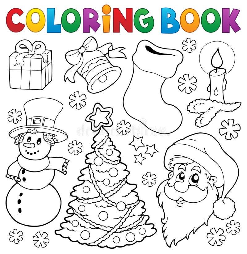 Malbuch-Weihnachten-thematics 5 stock abbildung