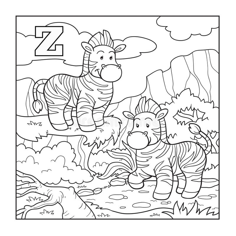 Malbuch (Zebra), Farbloses Alphabet Für Kinder: Buchstabe Z Vektor ...