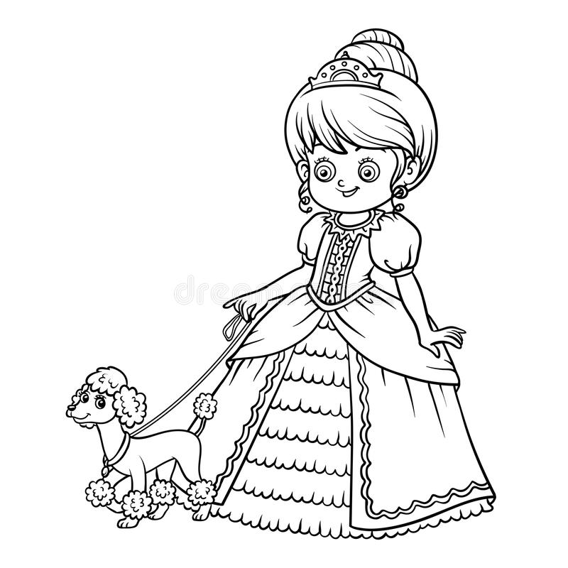 Malbuch, Zeichentrickfilm-Figur, Prinzessin mit Pudel lizenzfreie abbildung
