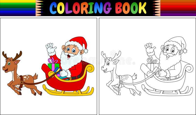 Malbuchkarikatur Weihnachtsmann, der seinen Renpferdeschlitten reitet stock abbildung