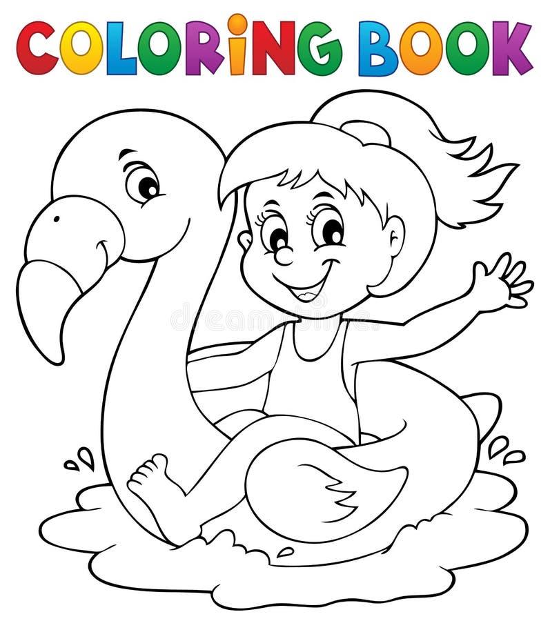 Malbuchmädchen auf Flamingofloss 1 lizenzfreie abbildung