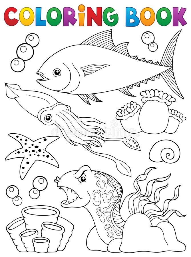 Malbuchmeeresflora und -fauna-Thema 1 lizenzfreie abbildung
