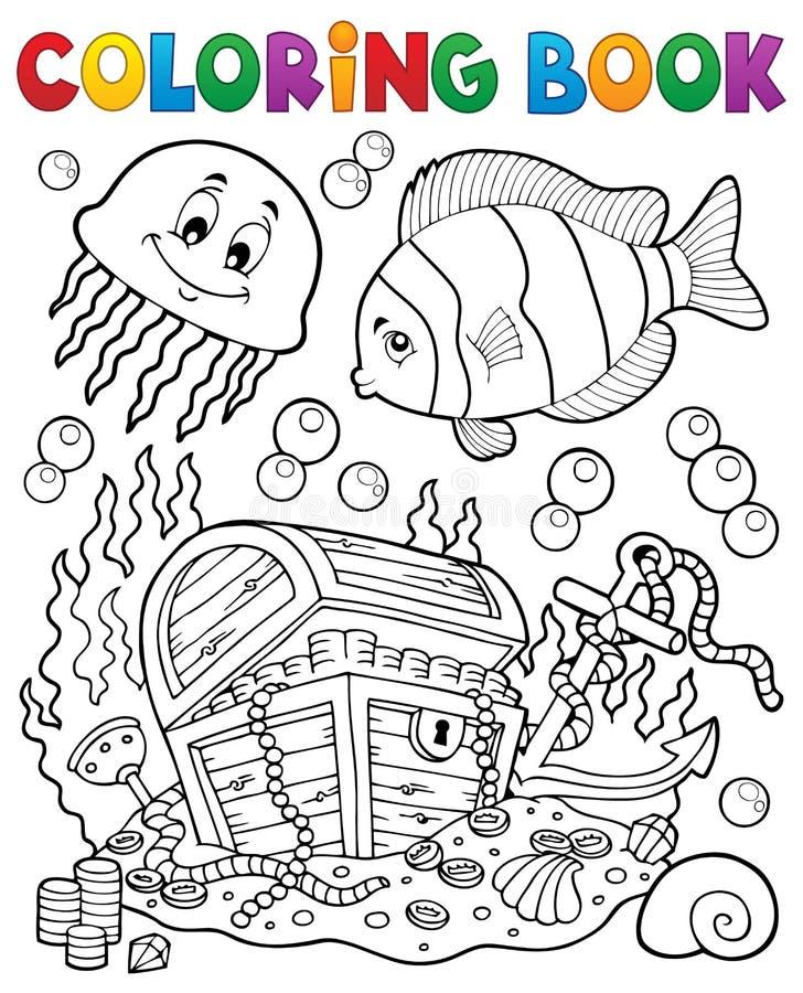 Malbuchschatztruhe Unterwasser stock abbildung