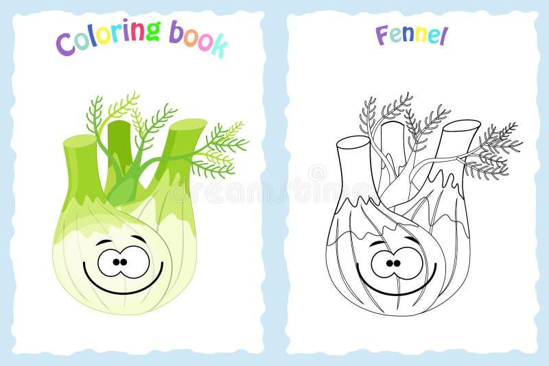 Malbuchseite für Kinder mit buntem Fenchel und sketc stock abbildung