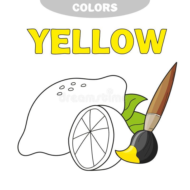 Malbuchseite für Vorschulkinder mit Entwürfen der zitronengelben Farbe lizenzfreie abbildung