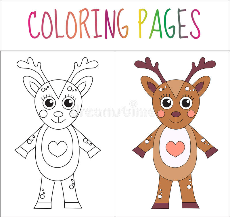 Malbuchseite Rotwild Skizzen- und Farbversion Farbton für Kinder Auch im corel abgehobenen Betrag stock abbildung