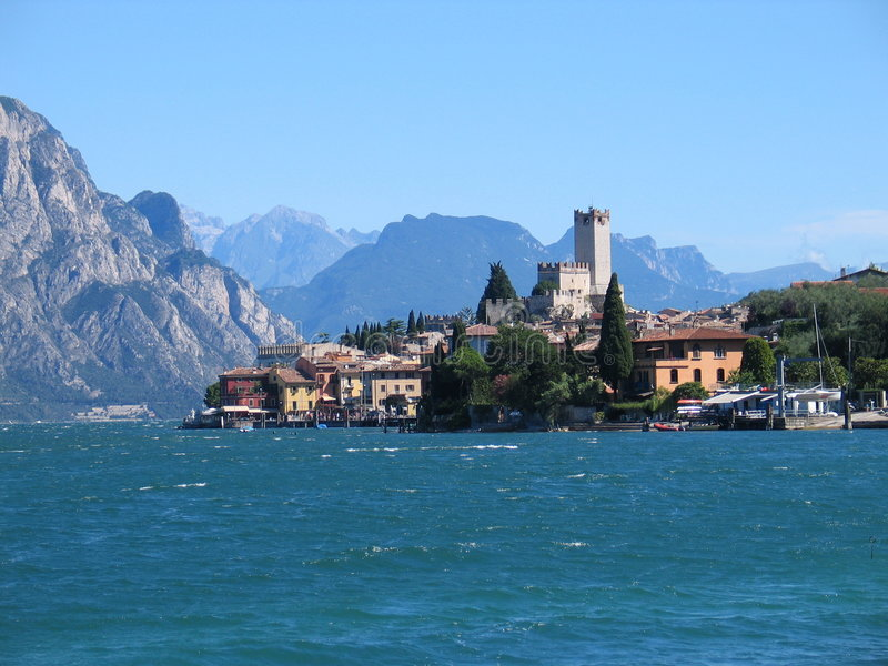 Malcesine (Italy). Part of Malcesine, Italy, with the historic Castle of Skaligers on a wonderful clear summerday