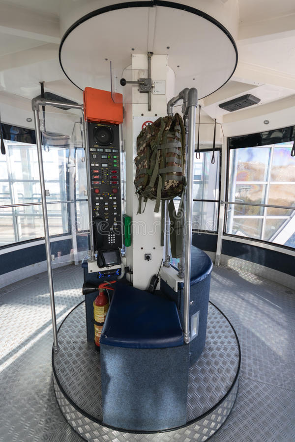 Malcesine, Italy - January 18, 2016: Cabin of the cableway Malcesine - Mount Baldo stop at the top station. stock photo