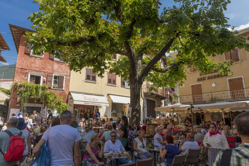 Malcesine, Lake Garda, Italy, August 2019, view of the small town of Malcesine in the market square royalty free stock images