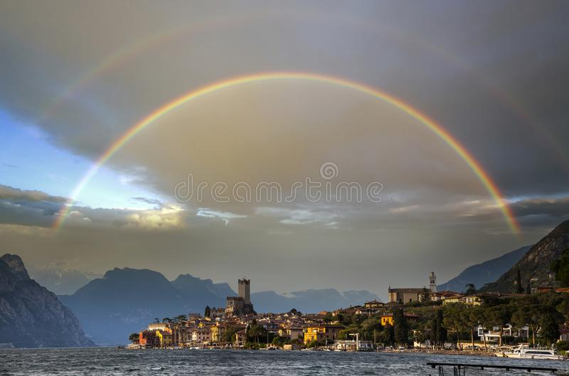 Malcesine rainbow, Italy stock photos