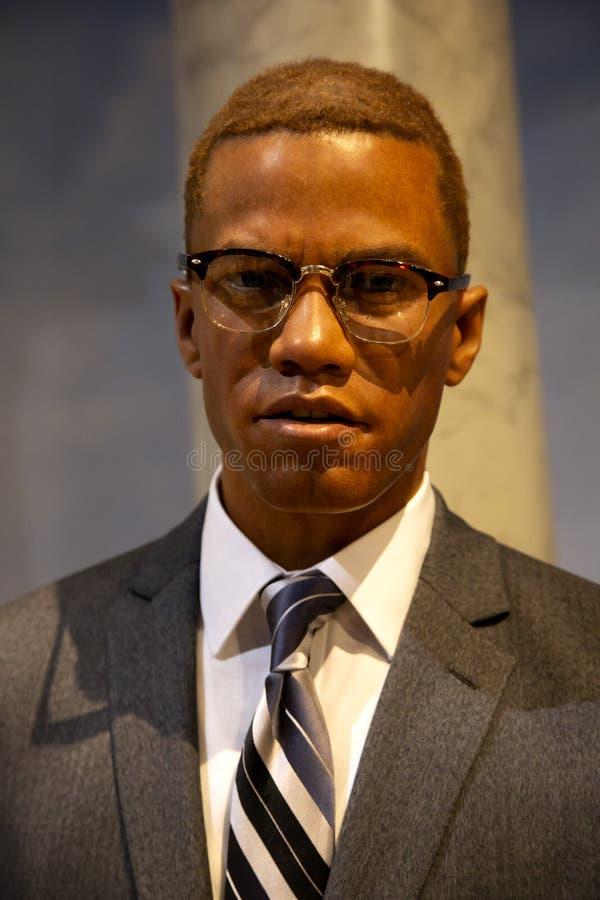 Malcolm X in Mevrouw Tussauds van New York stock afbeeldingen