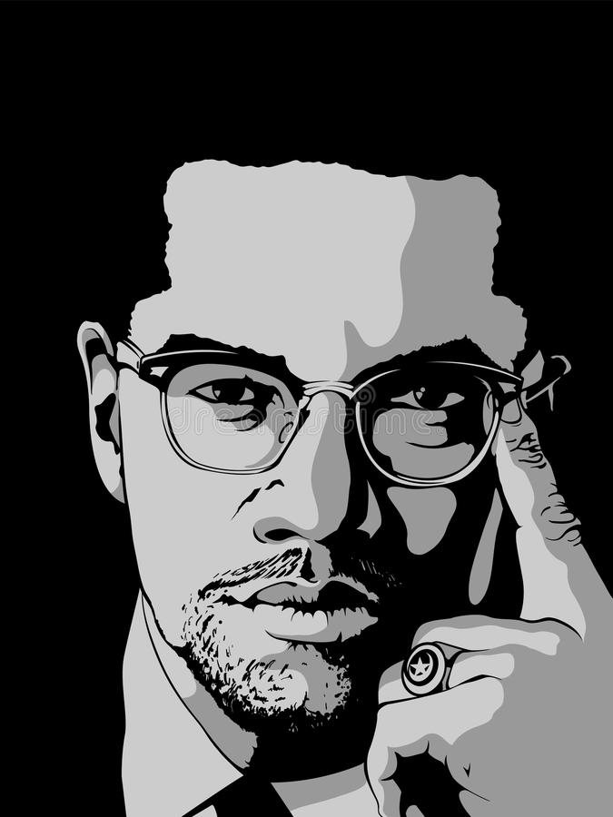 Malcolm X royaltyfri illustrationer