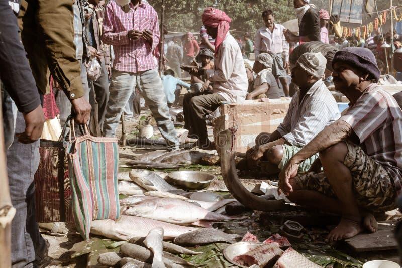 Malda West Bengal India Mai 2018 - Blick auf einen großen Markt für ländliches Bengalfisch auf der Straßenseite einer Landstraße  lizenzfreie stockfotos