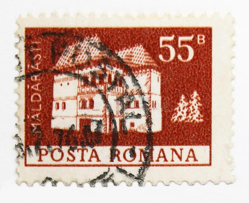 Maldaresti fortress, Definitives - Monuments serie, circa 1973. MOSCOW, RUSSIA - JULY 15, 2019: Postage stamp printed in Romania shows Maldaresti fortress stock image