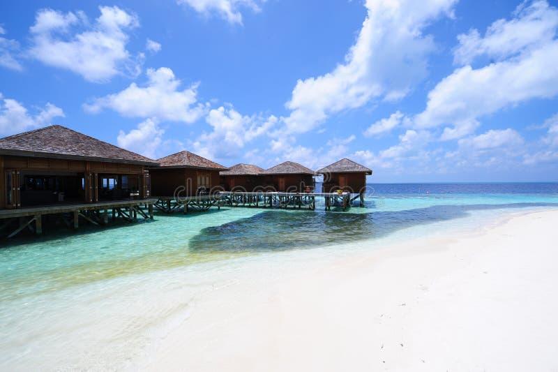 Maldivas, casa de campo da água fotos de stock