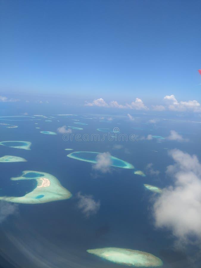 Maldivas del aeroplano fotografía de archivo