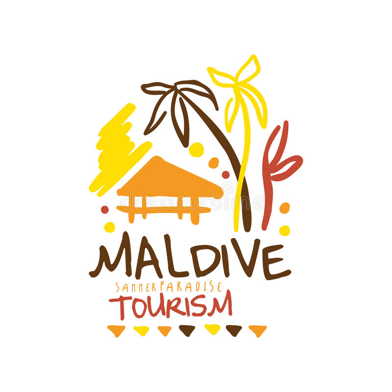 Maldive summer paradise tourism logo template hand drawn vector Illustration stock illustration