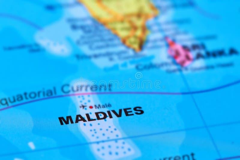 Maldiverna öar på översikten arkivfoto