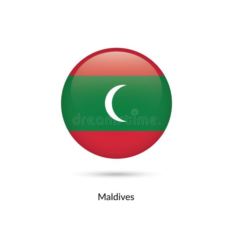 Maldiverna flagga - rund glansig knapp stock illustrationer