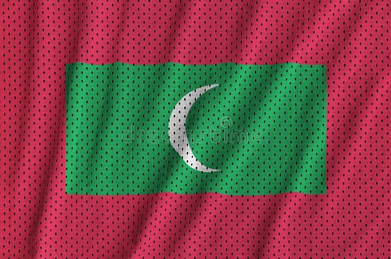 Maldiverna flagga som skrivs ut på en fabri för ingrepp för polyesternylonsportswear royaltyfri foto