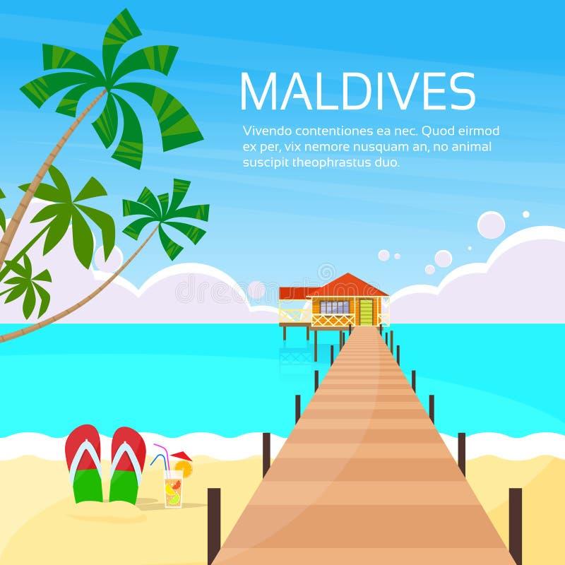 Maldiverna tropisk ö långa Pier Summer Vacation vektor illustrationer