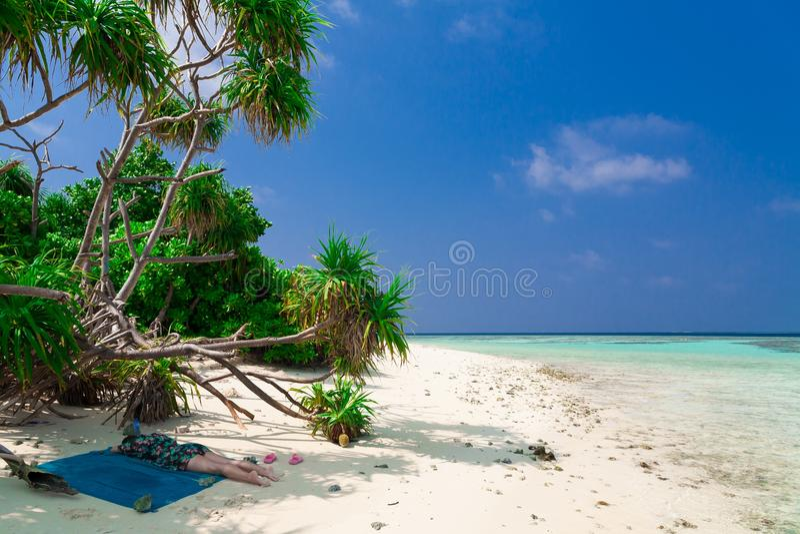 Maldiverna vit sand, gömma i handflatan arkivbilder