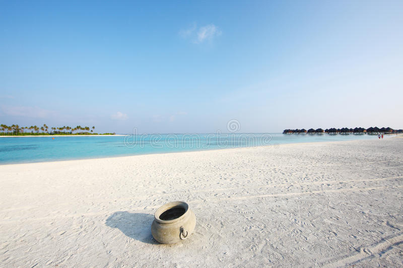 Maldives beach. The beautiful Maldives beach in the morning stock photo