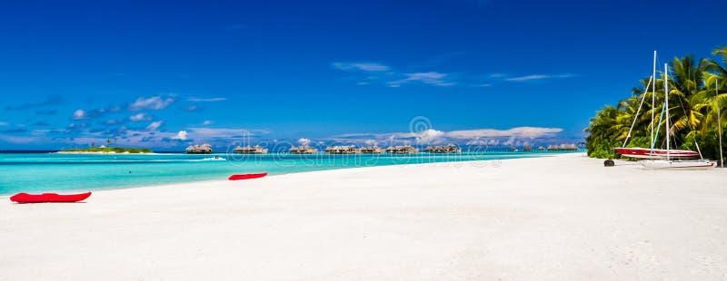 Maldives beach panorama under the blue sky royalty free stock image