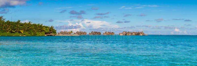 Maldives beach panorama under the blue sky stock photography