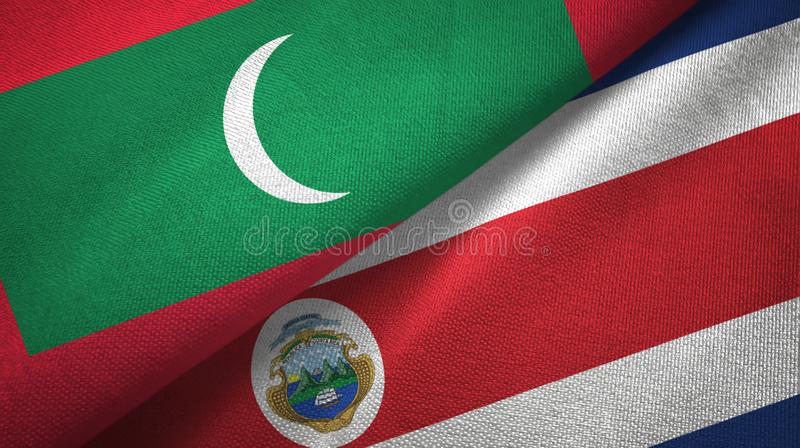 Maldives and Costa Rica two flags textile cloth, fabric texture stock illustration