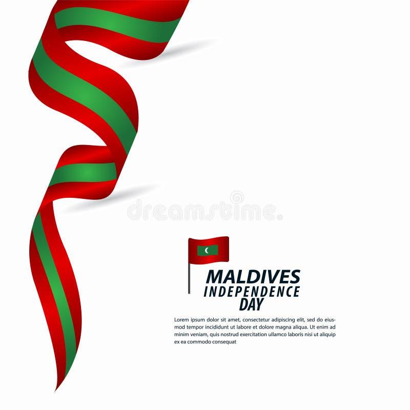 Maldives dnia niepodległości świętowania szablonu projekta Wektorowa ilustracja ilustracji