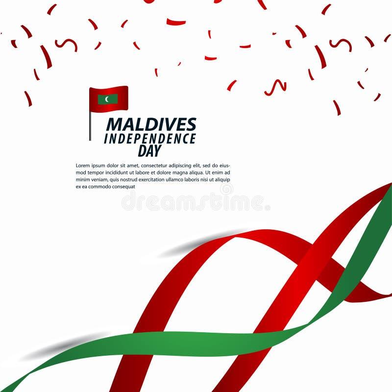 Maldives dnia niepodległości świętowania szablonu projekta Wektorowa ilustracja ilustracja wektor