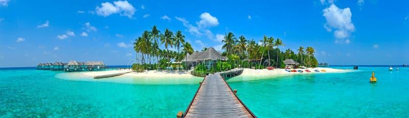 Maldives island panorama. With sun shining royalty free stock photography