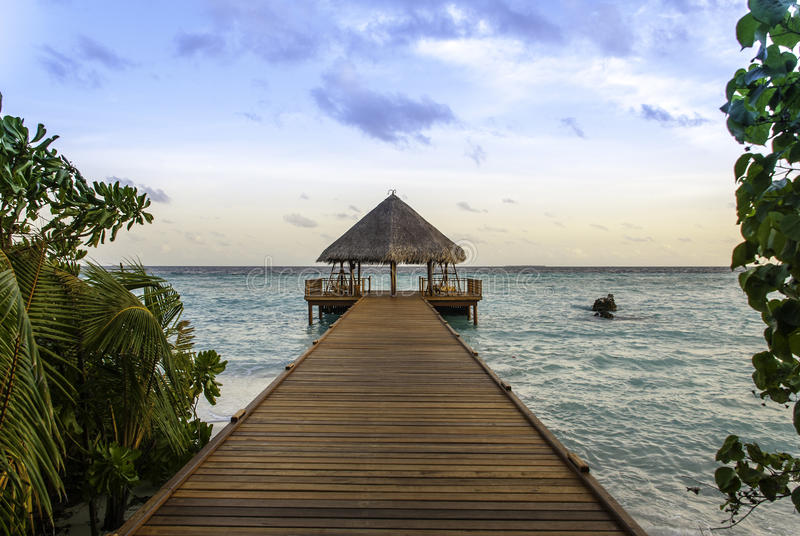 Maldives Jetty in the Sunset stock image