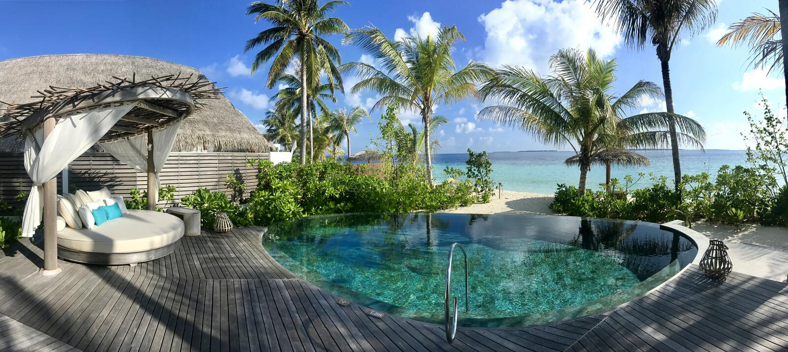 Maldives - Luxury Resort with private pools royalty free stock image