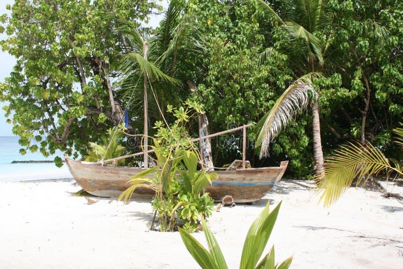 Maldives old boat royalty free stock photo
