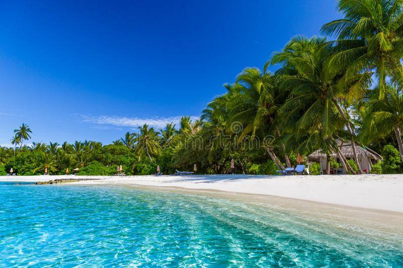 Tropical Island Beach Ambience Sound: Beautiful Beach Landscape. Summer Holiday And Vacation