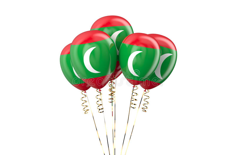 Maldives patriotic balloons, holyday concept. Isolated on white background royalty free illustration