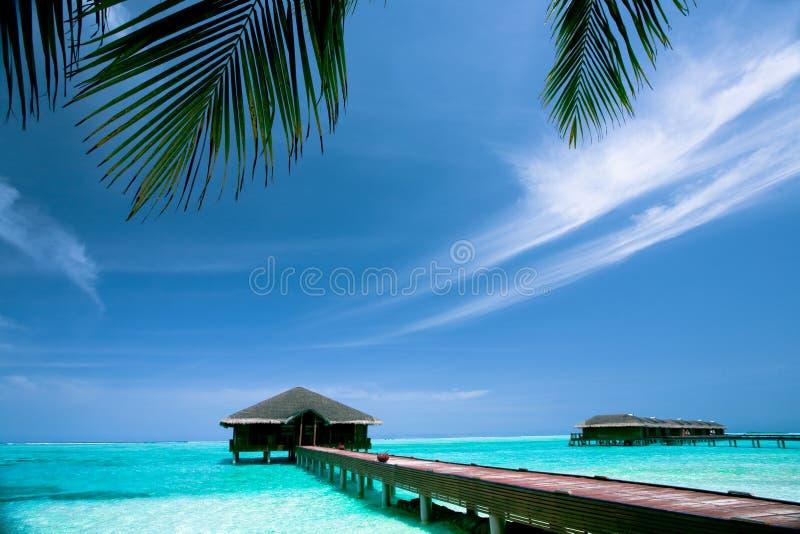 Maldives Resort. Medhufushi Island of Maldives with blue lagoon and water bungalows stock images