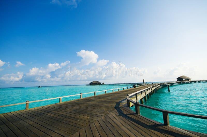 Maldives resort bridge. royalty free stock photo