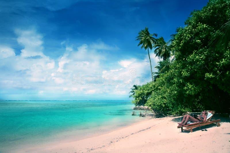 Maldives resort Medufushi royalty free stock images
