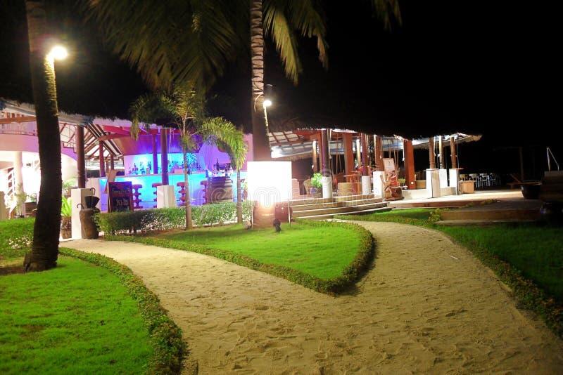 Maldives resort at night stock photography