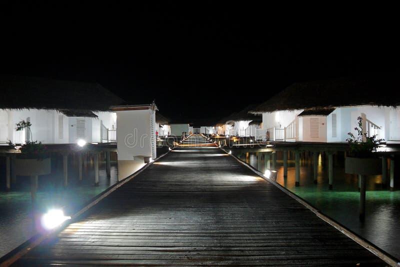 Maldives resort at night royalty free stock image