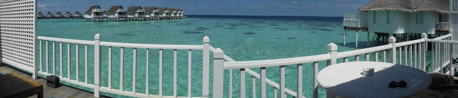 Maldives resort - panorama view from a bungalow stock photos