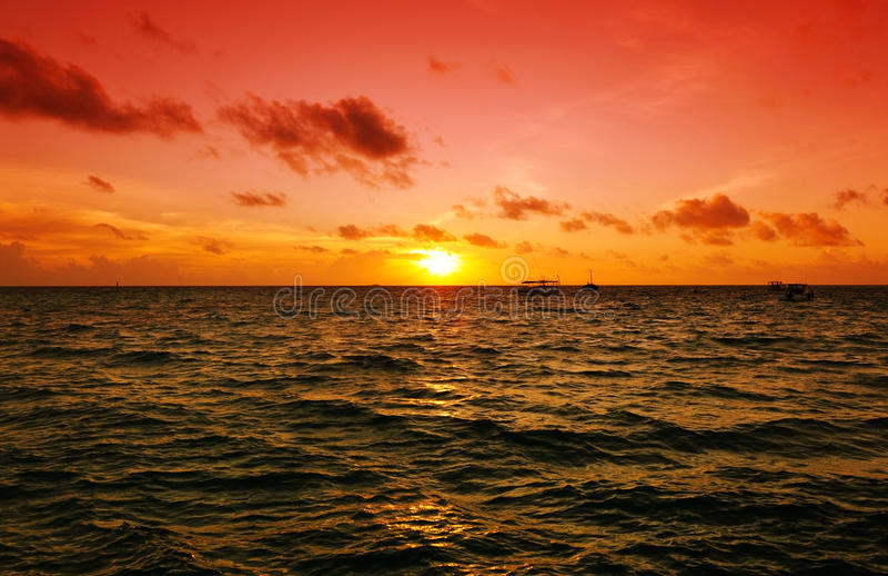 maldives solnedgång royaltyfri foto