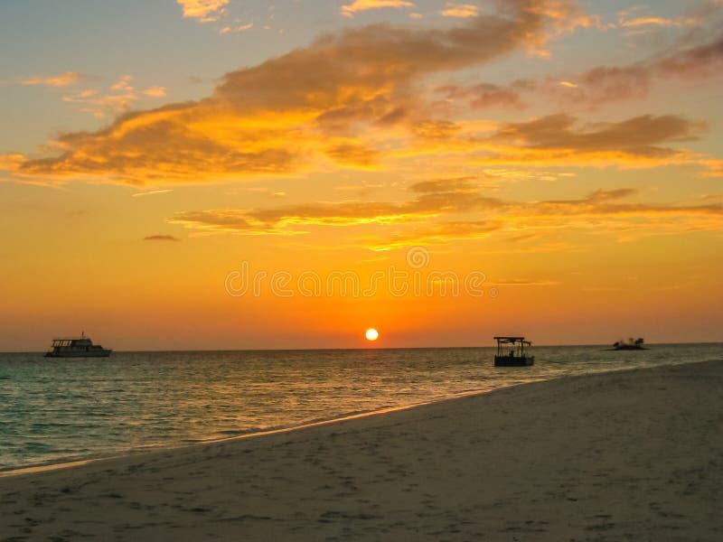 Maldives sunset background royalty free stock photography